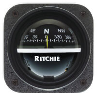 Ritchie V-537 Explorer Compass - Bulkhead Mount - Black Dial