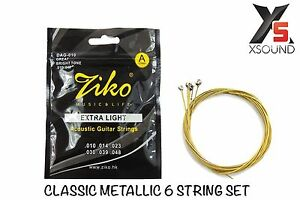ziko acoustic guitar strings extra light round copper plated steel 010 048 6936137800203 ebay. Black Bedroom Furniture Sets. Home Design Ideas