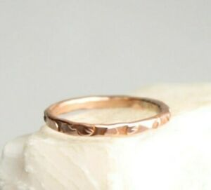 Copper-Ring-Stackable-Hammered-Rings-band-Size-7-5-Wedding-Promise-Ring-Unisex