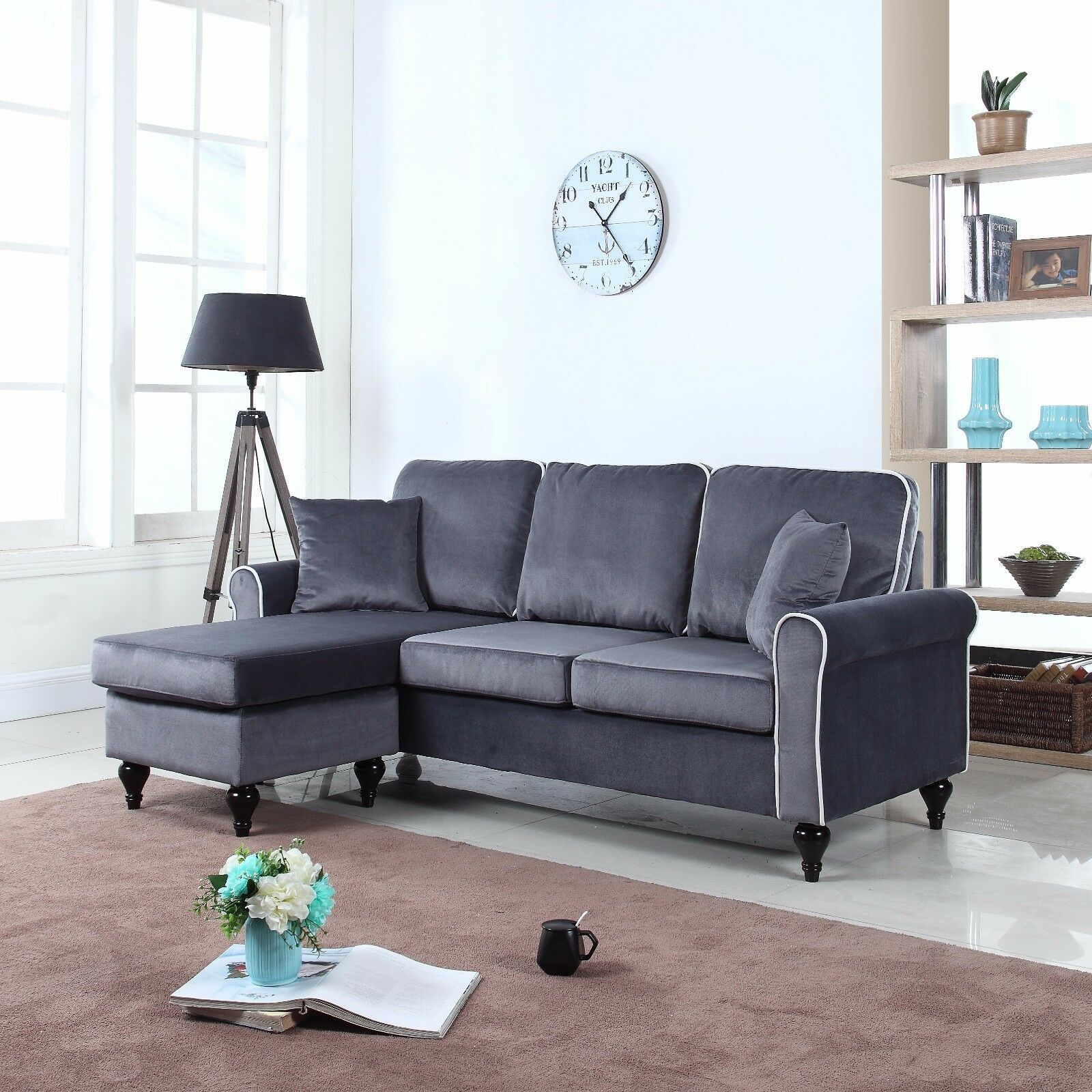 s l1600 Traditional Small Space Grey Velvet Sectional Sofa with Reversible Chaise