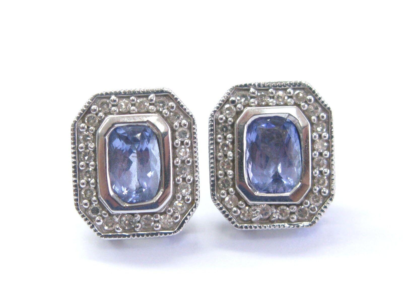 bbf5113e21594 Stud Square gold White Diamond Gem Fine Earrings Tanzanite 1.38Ct ...