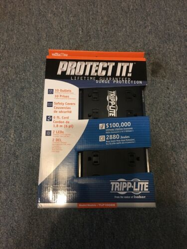 Tripp Lite 10-Outlet Power Strip 6ft Cord 2880 Joules Black Surge protector