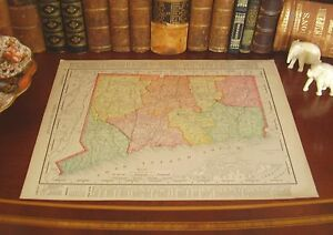Original Antique 1898 Map CONNECTICUT Bridgeport Hartford Stamford Waterbury CT