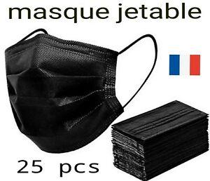 Masque de protection noir lot de 25, Anti-buée en Stock