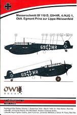 Owl Decals 1/48 MESSERSCHMITT Bf-110D 4/NJG.1 Oblt Lippe-Weissenfeld