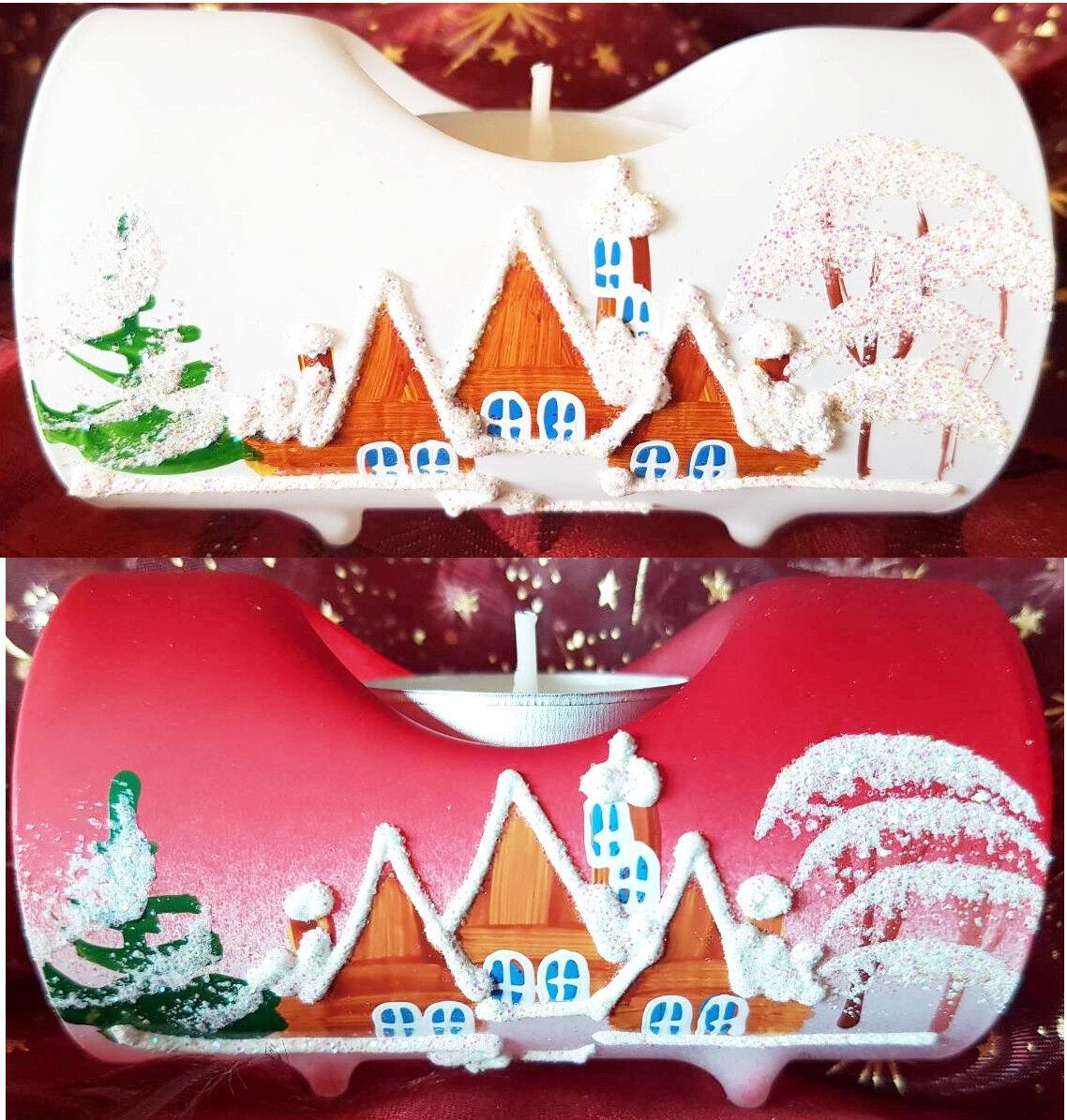 Kerzenständer Weihnachten Deko Glas Teelicht Kerzen Advent Handbemalt Wohnen WOW
