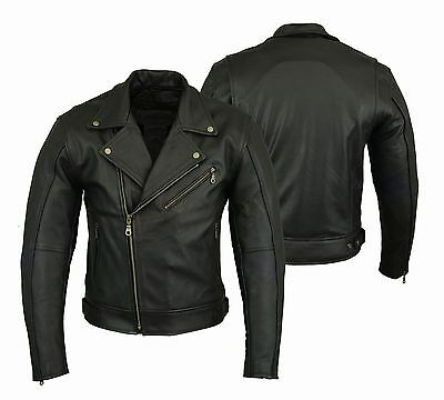 Motorrad Jacke Schwarz Lederjacke Chopperjacke Echtleder S bis 5XL Protektoren