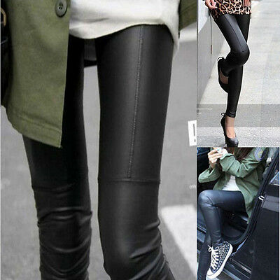 Sexy Black Lady Women Skinny Faux Leather Leggings Pants Trouser One Size