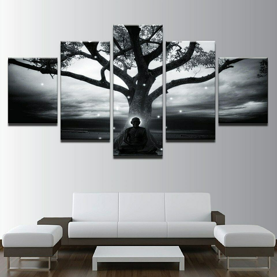 Shadow of Lord Meditation in Tree 5 Pcs Canvas Wall Room Home Decorating Poster