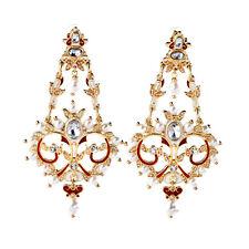 Boucles d`Oreilles Clip Pince Doré Gros Chandelier Email Rouge Mini Perle Fin J9
