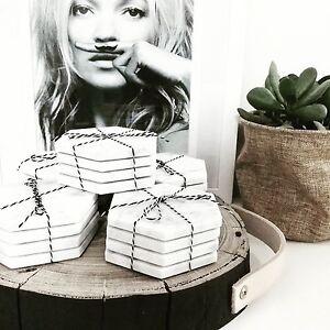 Hexagon-White-Marble-Coasters-Set-of-4-Hexagonal-Trivet