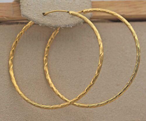 """1.4/"""" Big Hoop Géométrie Concave Swirl Wave Femmes Boucles D/'oreilles DS 18K Gold filled"""