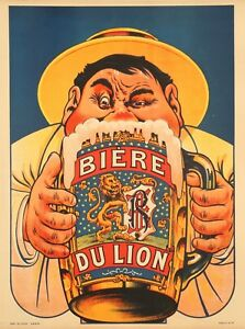 Original-Vintage-Poster-Eugene-Oge-Tankard-Lion-Beer