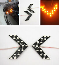 2x Arrow Indicator LED Auto Car Rearview Mirror Turn Signal Light Yellow Amber