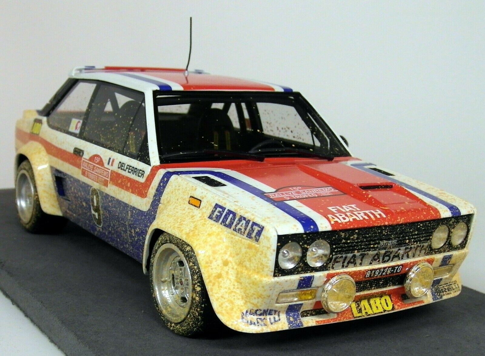 Top MARQUES 1 18 SCALA FIAT 131 ABARTH 1977 Rally San Remo vincere Andruet Dirty VER