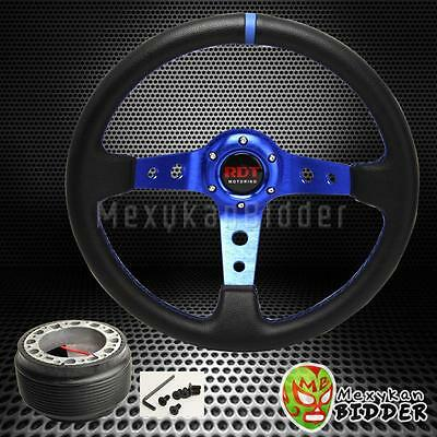350mm Black/Blue Drifting Deep Dish Steering Wheel + Hub Adapter Integra 90-93