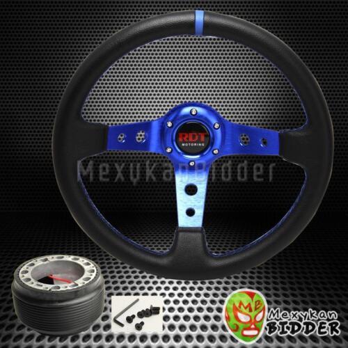 Black//Blue 350mm Deep Dish Steering Wheel /&Hub Adapter W//Horn Prelude 1992-1996