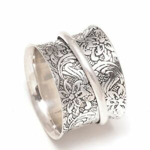 Solid-925-Sterling-Silver-Spinner-Ring-Meditation-Ring-Statement-Ring-Size-sr31