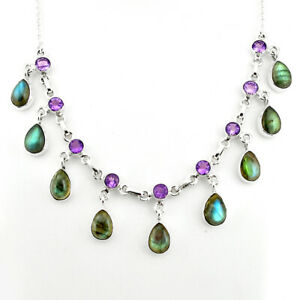41-20cts-Natural-Blue-Labradorite-Amethyst-925-Sterling-Silver-Necklace-P81490