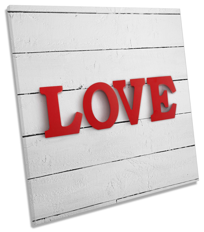 Rojo Rojo Rojo cartas de amor LONA parojo arte Foto impresión Cuadrado f69dd8