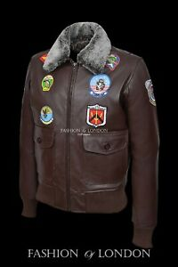 MEN/'S TOP GUN NERO G-1 BOMBER FIGHTER PILOT AVIATOR Cowhide LEATHER JACKET