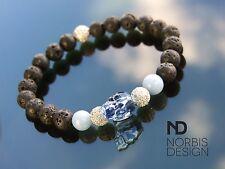 Men Angelite/Lava Skull Bracelet with Swarovski Crystal 7-8inch Elasticated