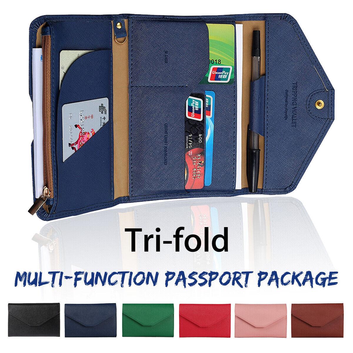❤ PU Tri-fold Credit ID Card Case Cover Travel Passport Holder Purse RFID