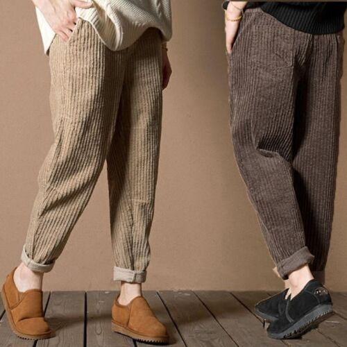 Womens Corduroy Trousers Baggy Harem Loose Stripped Pants Plus Size Oversize New