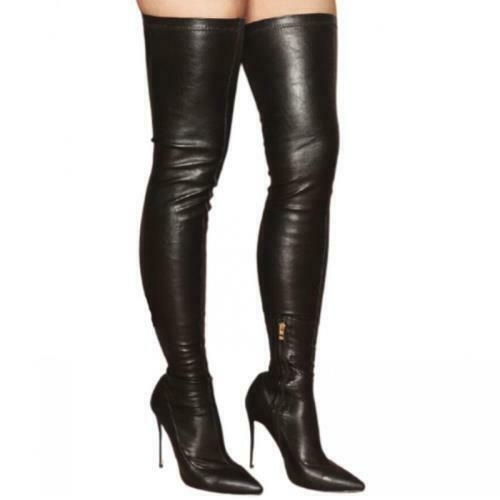 Details about  /Sexy Women Ladies Pointy Toe Stilettos High Heel Over The Knee High Boots Club L