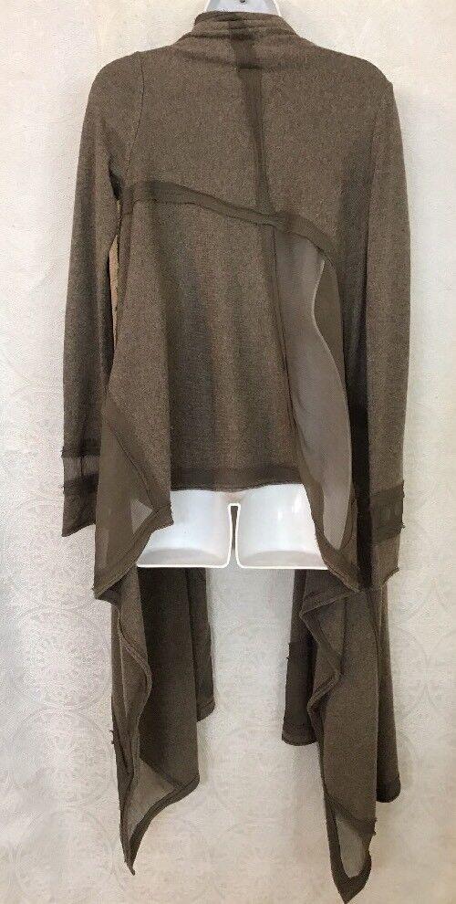 women Karan Long Cardigan Sweater TaupeCashmere With Silk Silk Silk Long Sleeves  Size S da15fe