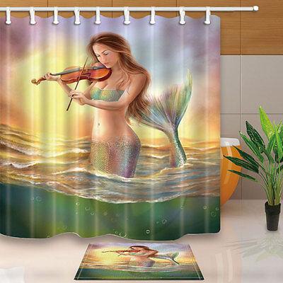 Mermaid playing the violin Shower Curtain Bathroom Fabric /& 12Hooks 180*180cm