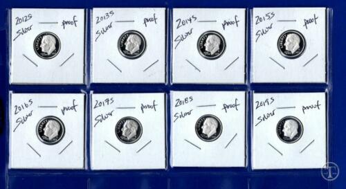 2019 S Silver Proof Roosevelt Dime Set-Gem Proof-Eight Coins 2012 S