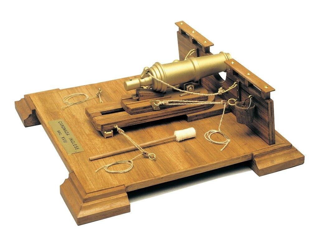 English 18th Century Carronade Mantua Wood Construction Kit 1 17 Scale 215x215mm