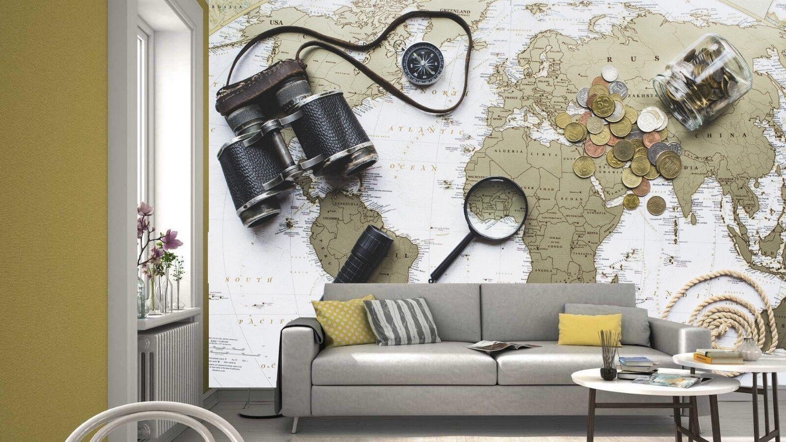 Travel Tour Vintage World Map Wallpaper Mural Photo Kids Room
