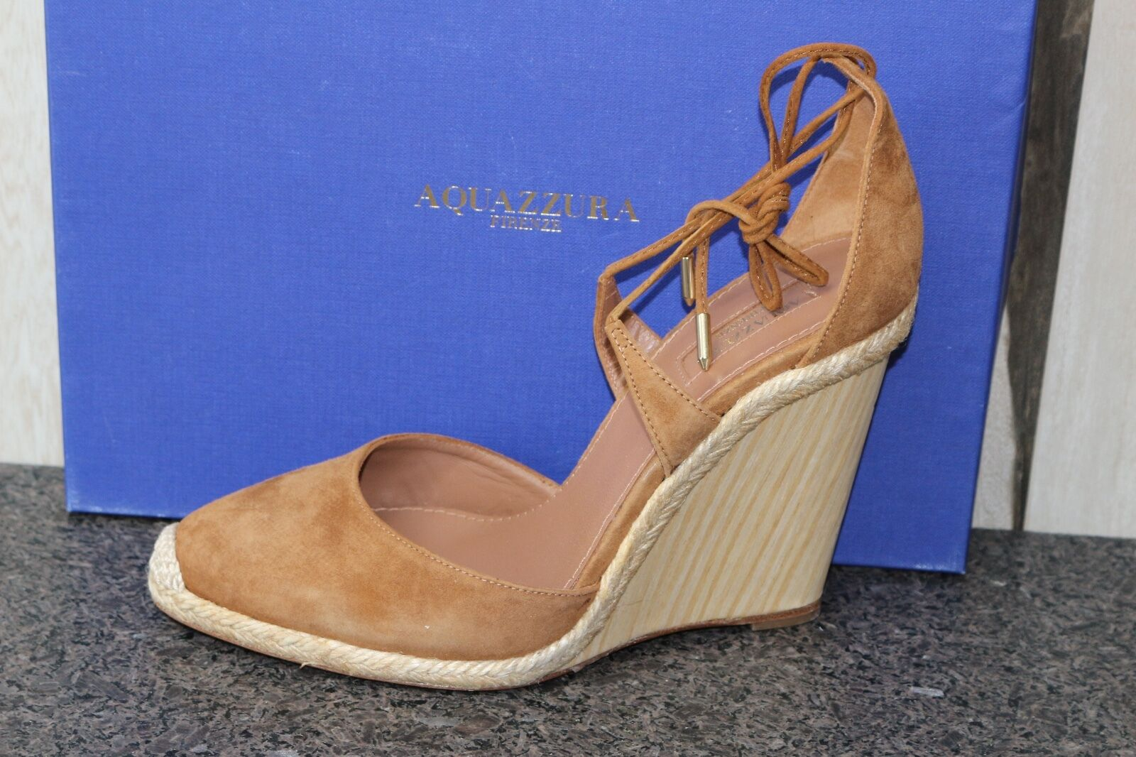 NIB Authentic AQUAZZURA KARLIE SUEDE ESPADRILLES WOOD WEDGE Sandals shoes 39.5