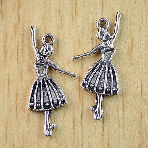 26pcs dark silver-tone ballet-dancer Charms h1050