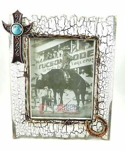 Western Picture Frame 8x10 Rustic Distressed Wood Barbed Wire
