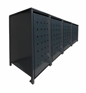 4er m lltonnenschrank metall m lltonnenbox m llbox metall kom schwarz 240l ebay. Black Bedroom Furniture Sets. Home Design Ideas