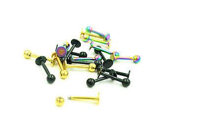 300pcs Titanium Gold/Rainbow/Black Labret Lip Chin Ring Monroe Bar Tragus 16G