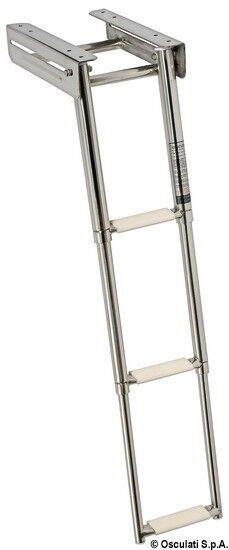 Osculati Edelstahl Teleskop-Bade-Leiter für Plattform, umklappbar - 3 Stufen