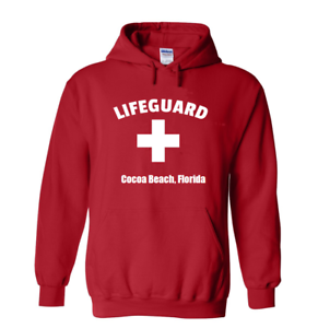 Red-Cocoa-Beach-Florida-Lifeguard-Hoodie-Souvenir-Pull-Over-Hooded-Sweatshirt