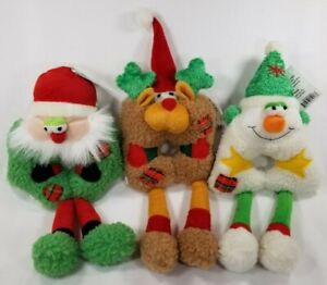 Festive-Friends-Holiday-Christmas-Squeaker-Santa-Snowman-Reindeer-dog-toy-B16