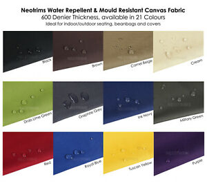 Outdoor Garden /& Marine 600 Denier Thick Heavy Duty Waterproof Canvas Fabric Two Tone Marl Water Balls Slide Off Fabric Neotrims 19 Colours for Upholstery Covering Home Beanbags