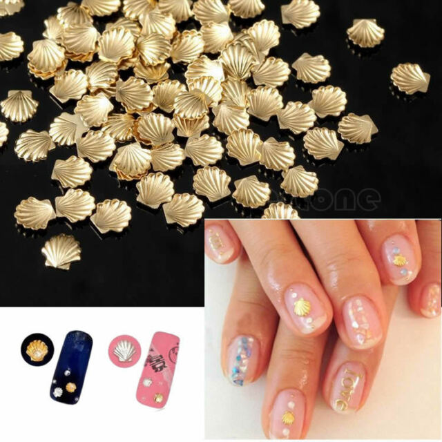 100pcs Alloy Metal Shell Manicure Studs Beads For Nail Art Phone Craft DIY