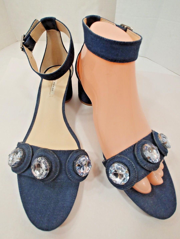 Zara Oscuro Azul Denim Azul Oscuro Jean y Correa en el tobillo Tacones Zapatos Sandalias de mujer 7.5M EU38 df7f0f