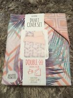 Primark Home Double Duvet Cover Ibiza Geo Palm With Piped Pillowcases