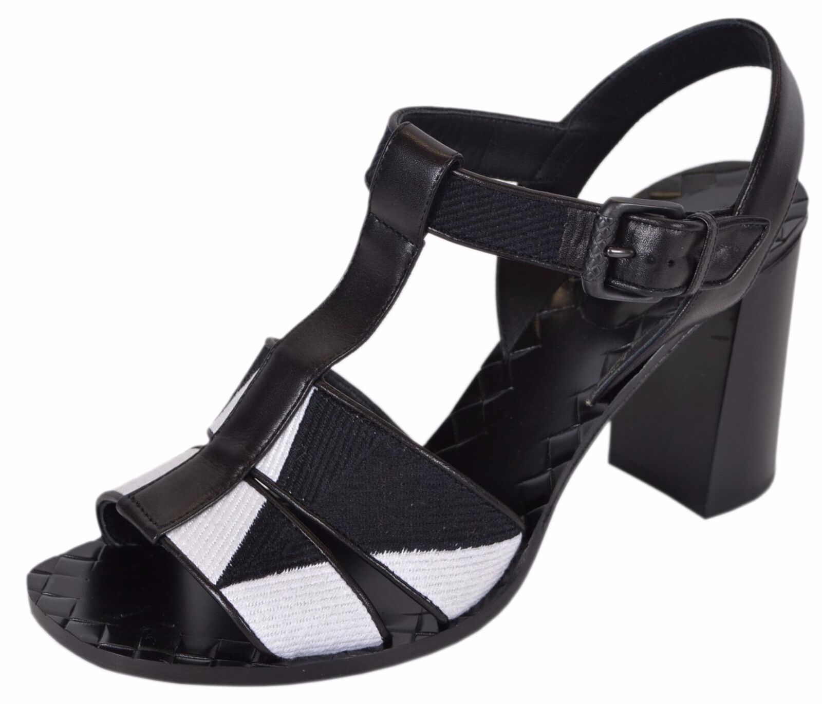 NEW Bottega Veneta  990 407090 Black White colorblock T Strap Sandals shoes 39 9