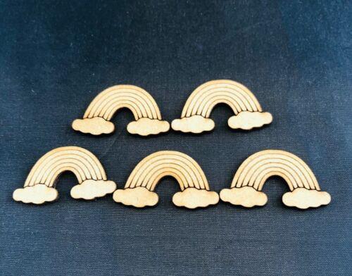 10 x forma de artesanía de madera MDF nube de Arco Iris Decoración Adornos NHS Vivero