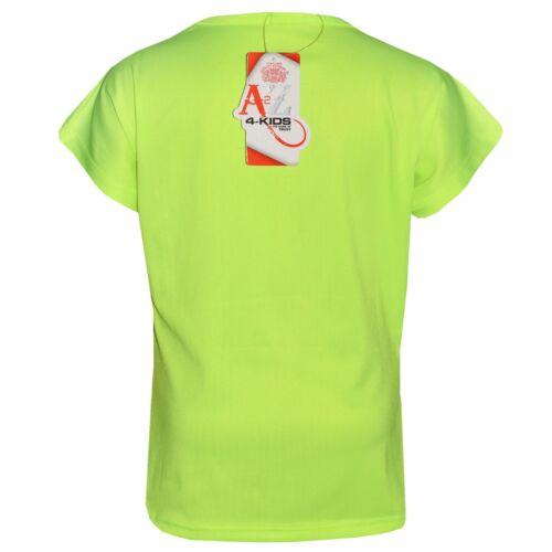 Bambine Verde Neon dall/'aspetto fantastico stampa Designer T Shirt /& Legging Set 5-13Y