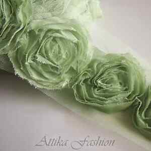 Pale-Green-CHIFFON-Mesh-Frayed-LACE-TRIM-1y-12-Large-Flower-Appliques-Motifs